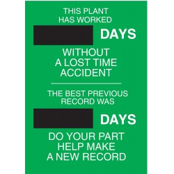 Brady - 49115 - Safety Record Signs, 28 x 20In, STL, ENG