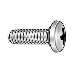 APM Hexseal - BAEHNZZZZAAZZ - #6-32 Self-Sealing Machine Screw with Pan Head Type, Plain Finish, 18-8 Stainless Steel, 10 PK