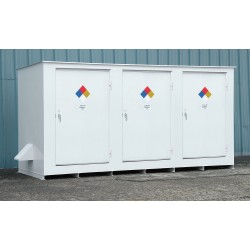 Denios - N05-3040 - 236 x 70 x 98 Steel Storage Building with No Fire Rating, White