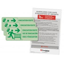 Foundations - 1963006 - Infant Evacuation Signage Kit, Glow-In-The Dark; PK1