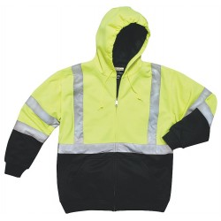 Utility Pro Wear - UHV425-XL-BLKYLW - Yellow/Black Polymide, DuPont(TM) PTFE Fabric Protector High Visibility Hooded Sweatshirt, Size: XL,