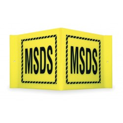 Brady - V2MS24A - Brady 8 X 15 X 6 Black On Yellow Acrylic Office And Facility Sign MSDS, ( Each )