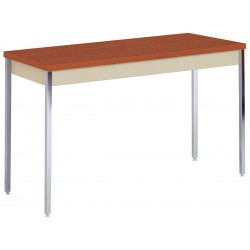 Sandusky Lee - AT6020PU - Adjustable Utility Table with Oak Tabletop and Putty Frame 60 x 20 x 24 to 36
