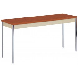 Sandusky Lee - AT7236PU - Adjustable Utility Table with Columbian Walnut Tabletop and Putty Frame 72 x 36 x 24 to 36