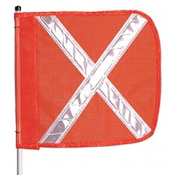 Checkers Industrial - FS3X - 3 ft. Fiberglass Whip, Plastic Coated Nylon Mesh Flag Warning Whip with Reflective X Flag