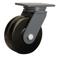 Hamilton Caster - S-CH-83PH-4SL-FB - 8 Heavy-Duty Swivel Plate Caster, 3000 lb. Load Rating