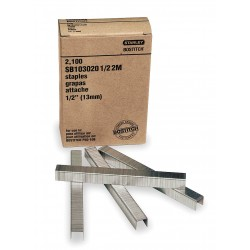 "Stanley Bostitch - SB1030201/22M - Carton Staples, Adhesive Stick, Chisel, Crown 1/2"", Leg Length 1/2"", 2100 PK"