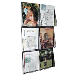 Deflect-O - 56401GR - Magazine Holder, 6 Compartments, Clear