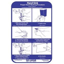 San Jamar - HWWLCTGR - 7 1/2 x 9 1/4 Hand Washing Chart