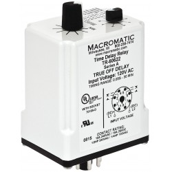 Macromatic - TR-60622 - Time Delay Relay, 120VAC/DC Coil Volts, 10A Contact Amp Rating (Resistive), Contact Form: DPDT