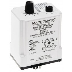 Macromatic - TR-60628 - Time Delay Relay, 24VAC/DC Coil Volts, 10A Contact Amp Rating (Resistive), Contact Form: DPDT