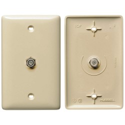 Hubbell - NS750I - NetSelect Molded-In Plate for Voice & CATV/Satellite, 1 Gang, 1 F-Type Coupler Bulkhead, F/F, Ivory