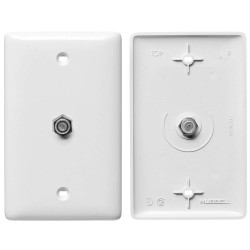 Hubbell - NS750W - NetSelect Molded-In Plate for Voice & CATV/Satellite, 1 Gang, 1 F-Type Coupler Bulkhead, F/F, White
