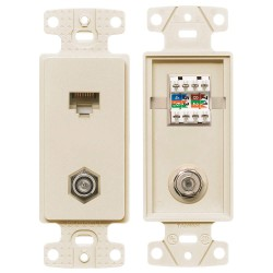 Hubbell - NS785LA - NetSelect Molded-In Video & Voice Decorator Frame, 1 Category 5e 110 Punch-Down Jack, 1 F-Type Coupler Bulkhead, F/F, Screw Terminations, Light Almond