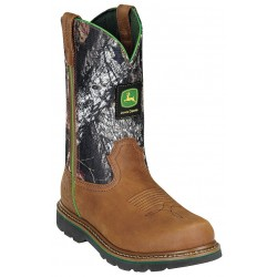 John Deere - JD4348 - 11H Men's Wellington Boots, Steel Toe Type, Leather Upper Material, Camo/Tan, Size 6M