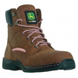 John Deere - JD3612 - 6H Women's Work Boots, Steel Toe Type, Leather Upper Material, Brown, Size 6-1/2M