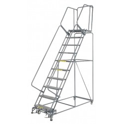 Ballymore / Garlin - WA103221P - Garlin Rolling Ladder 10 Step Knock Down 21 In Deep Top Step Perforated Steel Gray, Ea