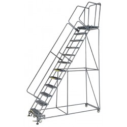 Ballymore / Garlin - WA123221P - Garlin Rolling Ladder 12 Step Knock Down 21 In Deep Top Step Perforated Steel Gray, Ea