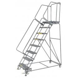 Ballymore / Garlin - WA083221G - Garlin Rolling Ladder 8 Step Knock Down 21 In Deep Top Step Grip Strut Steel Gray, Ea