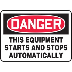 "Accuform Signs - MEQM088VA - Accuform Signs 10"" X 14"" Black, Red And White 0.040"" Aluminum Equipment Sign ""DANGER THIS EQUIPMENT STARTS AND STOPS AUTOMATICALLY"" With Round Corner"