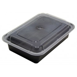 Pactiv - NC-888-B - 6 x 8 1/4 x 2 PET Plastic Carry-Out Food Container, Black/Clear; PK150