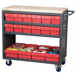 """Akro-Mils / Myers Industries - MA3618CASTRED - 36""""H x 18-1/2""""W Steel Louvered Cart, 800 lb. Load Capacity, Total Number of Bins: 16"""