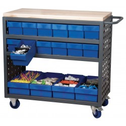 "Akro-Mils / Myers Industries - MA3618CASTBLU - 36""H x 18-1/2""W Steel Louvered Cart, 800 lb. Load Capacity, Total Number of Bins: 16"