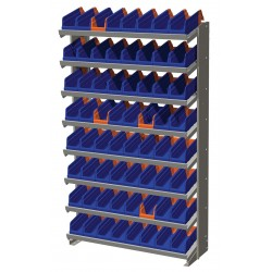 "Akro-Mils / Myers Industries - APRS36442B - 36-3/4"" x 12"" x 60-1/4"" Single Sided Pick Rack with 400 lb. Load Capacity, Gray Rack/Blue and Orange"