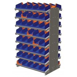 "Akro-Mils / Myers Industries - APRD36462B - 36-3/4"" x 24"" x 60-1/4"" Double Sided Pick Rack with 800 lb. Load Capacity, Gray Rack/Blue and Orange"