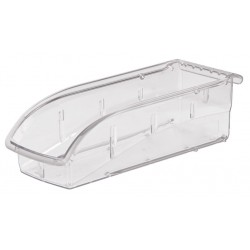 "Akro-Mils / Myers Industries - 305A5 - Hang and Stack Bin, Clear, 10-7/8"" Outside Length, 4-1/8"" Outside Width, 3-1/4"" Outside Height"