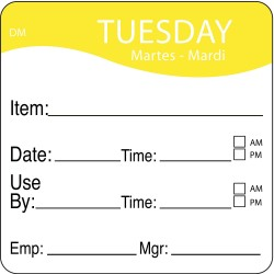 DayMark - 1100532 - Dissolvable Day Label, Paper, Square, Width 2, Height 2, 250 PK