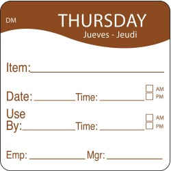 DayMark - 1100534 - Dissolvable Day Label, Paper, Square, Width 2, Height 2, 250 PK
