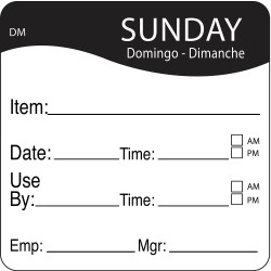 DayMark - 1100537 - Dissolvable Day Label, Paper, Square, Width 2, Height 2, 250 PK