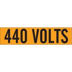 Brady - 44113 - Brady 2 1/4 X 9 Black/Orange Coated Fabric Vinyl Label 440 VOLTS, ( Each )