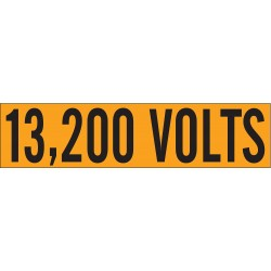 Brady - 44151 - Conduit and Voltage Markers, Markers per Card: 1, 9 x 2-1/4, 13, 200 Volts Legend