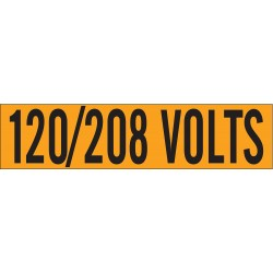 Brady - 44159 - Brady 2 1/4 X 9 Black Vinyl Conduit Voltage Marker 120/208 VOLTS, ( Card )