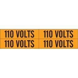 Brady - 44201 - Brady 1 1/8 X 4 1/8 Black/Orange Coated Fabric Vinyl Label 110 VOLTS, ( Card )