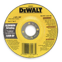 "Dewalt - DW8400 - 4"" x 1/4"" Depressed Center Wheel, Aluminum Oxide, 5/8"" Arbor Size, Type 27, High Performance"