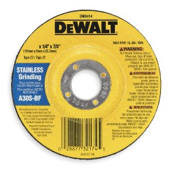 "Dewalt - DW8416 - 5"" x 1/4"" Depressed Center Wheel, Aluminum Oxide, 5/8""-11 Arbor Size, Type 27, High Performance"