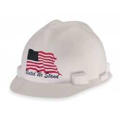 MSA - 10034263 - Front Brim Hard Hat, 4 pt. Ratchet Suspension, White, Hat Size: 6-1/2 to 8""
