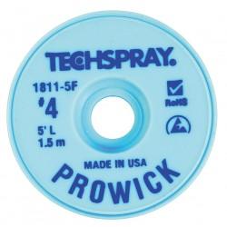 Techspray - 1811-5F - Desoldering Braid, Pro Wick, Blue #4, Static Dissipative Bobbin, Copper, 5ft x 0.098