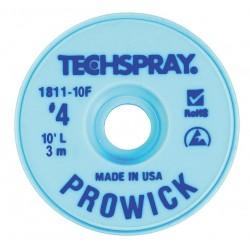 Techspray - 1811-10F - Desoldering Braid, Pro Wick, Blue #4, Static Dissipative Bobbin, Copper, 10ft x 0.098