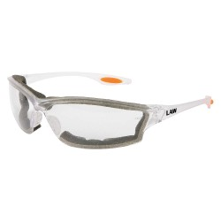 Crews - LW310AF - Crews Law 3 Safety Glasses With White Nylon Frame, Clear Polycarbonate Duramass AF4 Anti-Fog Anti-Scratch Lens And Orange Temple Sleeve