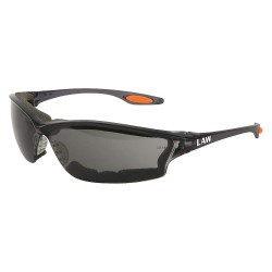 Crews - LW312AF - Crews Law 3 Safety Glasses With Smoke Nylon Frame, Gray Polycarbonate Duramass AF4 Anti-Fog Anti-Scratch Lens And Orange Temple Sleeve