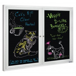 United Visual - UV853B-SATIN-BLMELD - Indoor Enclosed Bulletin Board, Dry Erase, Black Board Color, 48 Width, 36 Height