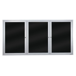 United Visual - UV855B-SATIN-BLMELD - Indoor Enclosed Bulletin Board, Dry Erase, Black Board Color, 72 Width, 36 Height