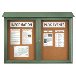 United Visual - UVDD4530-WOODGRN - Indoor Enclosed Bulletin Board, Push-Pin, Woodland Green Board Color, 45 Width, 30 Height