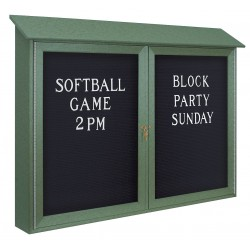 United Visual - UVDD4530LB-WOODGRN - Outdoor Enclosed Bulletin Board, Letter Board, Woodland Green Board Color, 45 Width, 30 Height