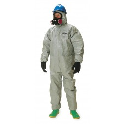 DuPont - TF145TGYXL000600 - Hooded Chemical Resistant Coveralls with Elastic Cuff, Gray, XL, Tychem 6000