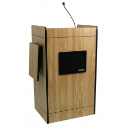 AmpliVox - SS3230-OK - AmpliVox SS3230 - Multimedia Computer Lectern with Sound System - Rectangle Top - 26 Table Top Width x 20 Table Top Depth - 44 Height - Oak, Laminated - Melamine